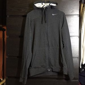Nike Dri-Fit Hoodie Hooded Sweatshirt Medium Gray